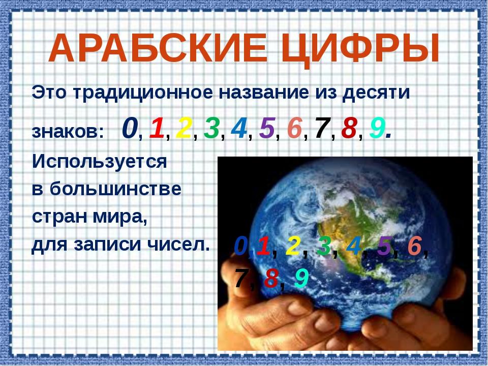 АРАБСКИЕ ЦИФРЫ Это традиционное название из десяти знаков: 0, 1, 2, 3, 4, 5,...
