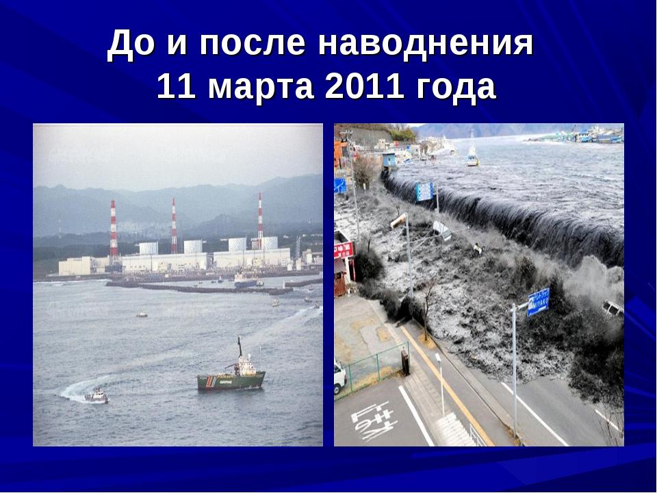 До и после наводнения 11 марта 2011 года