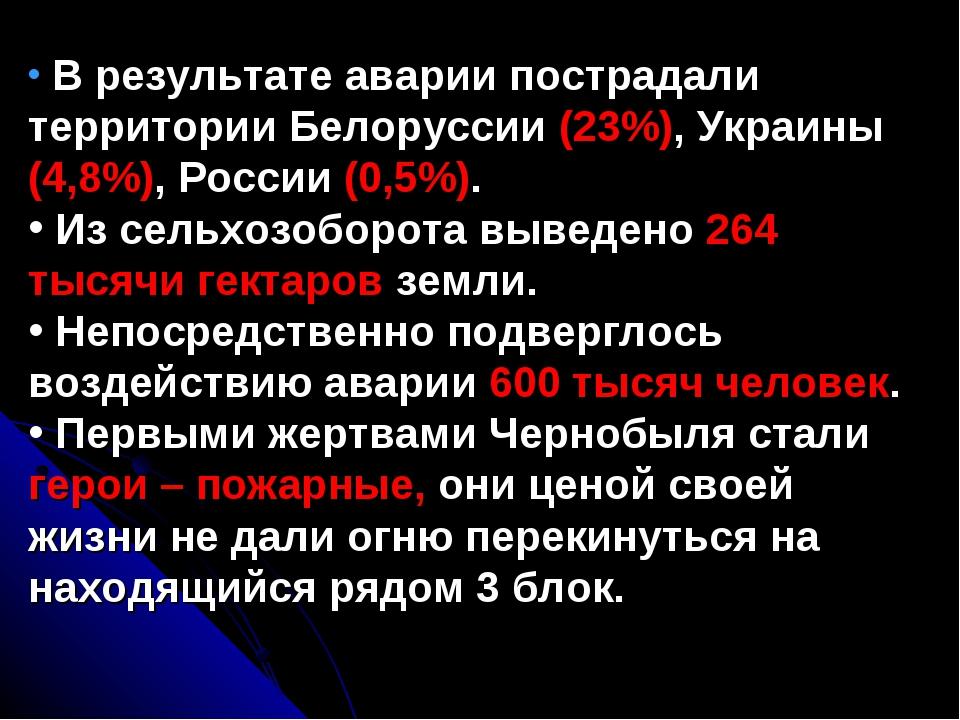 В результате аварии пострадали территории Белоруссии (23%), Украины (4,8%),...