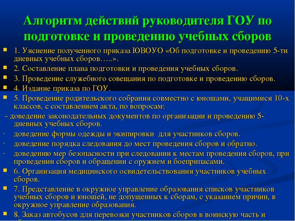 Алгоритм действий руководителя ГОУ по подготовке и проведению учебных сборов...