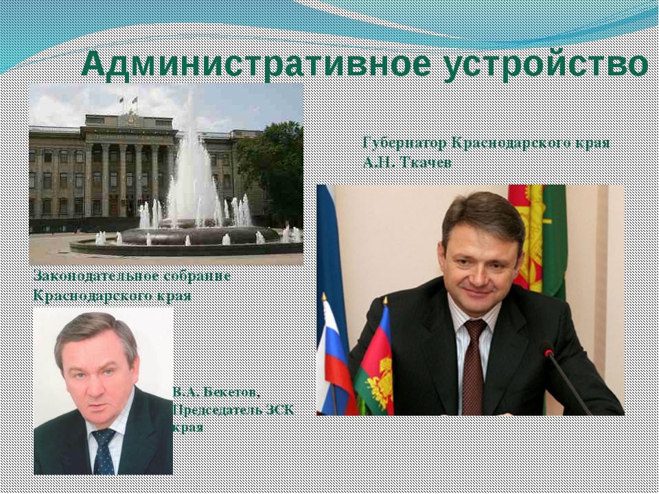 Административное устройство Законодательноесобрание Краснодарскогокрая Губе...
