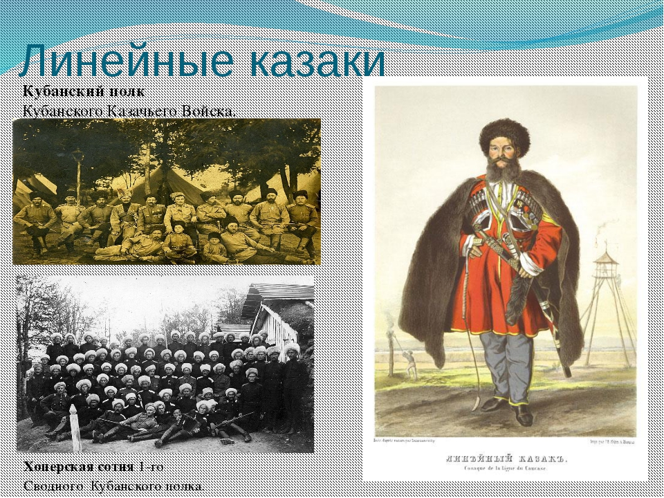 Линейные казаки Хоперскаясотня 1-го Сводного Кубанского полка. Кубанскийпо...