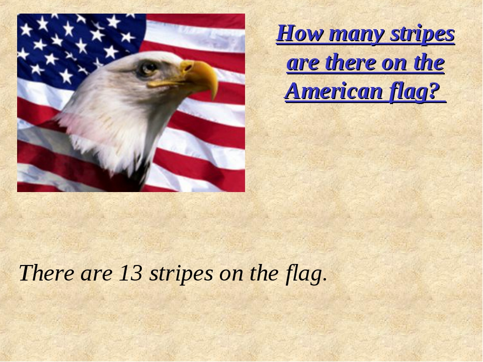 How many stripes are there on the American flag? There are 13 stripes on the...