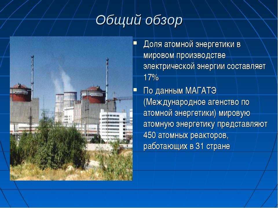 Общий обзор Доля атомной энергетики в мировом производстве электрической энер...
