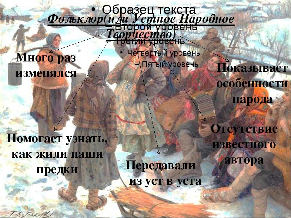 Фольклор(или Устное Народное Творчество) Отсутствие известного автора Много р...
