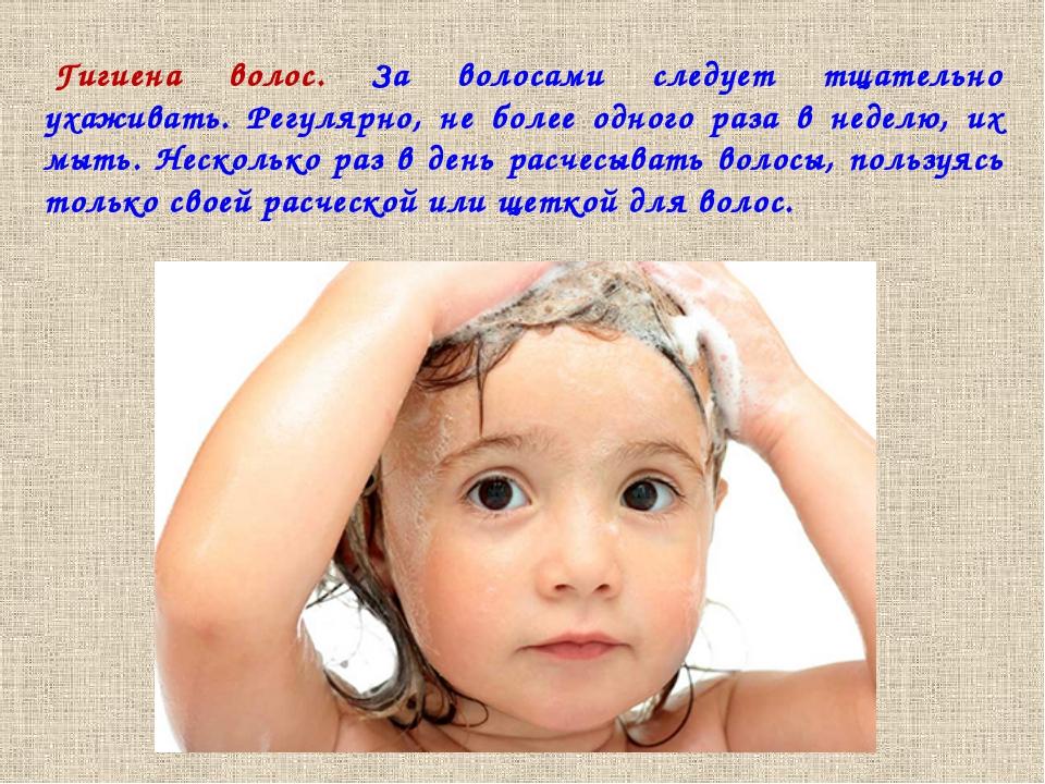 Гигиена волос. За волосами следует тщательно ухаживать. Регулярно, не более о...