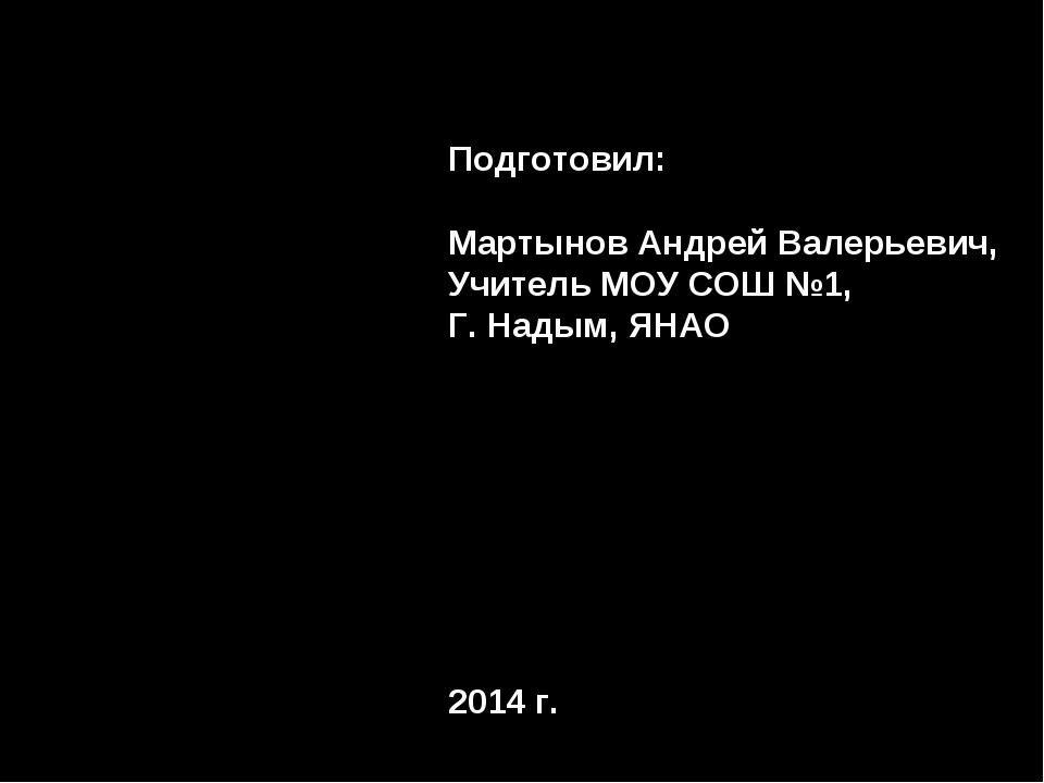 Подготовил: Мартынов Андрей Валерьевич, Учитель МОУ СОШ №1, Г. Надым, ЯНАО 20...
