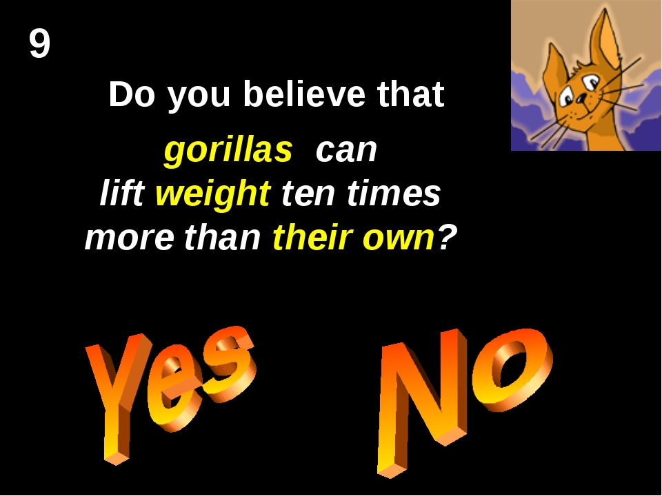 9 Do you believe that gorillas can lift weight ten times more than their own?