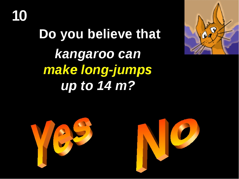 10 Do you believe that kangaroo can make long-jumps up to 14 m?