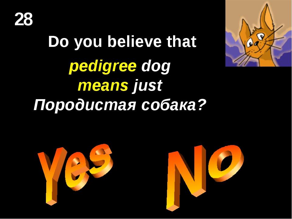 28 Do you believe that pedigree dog means just Породистая собака?