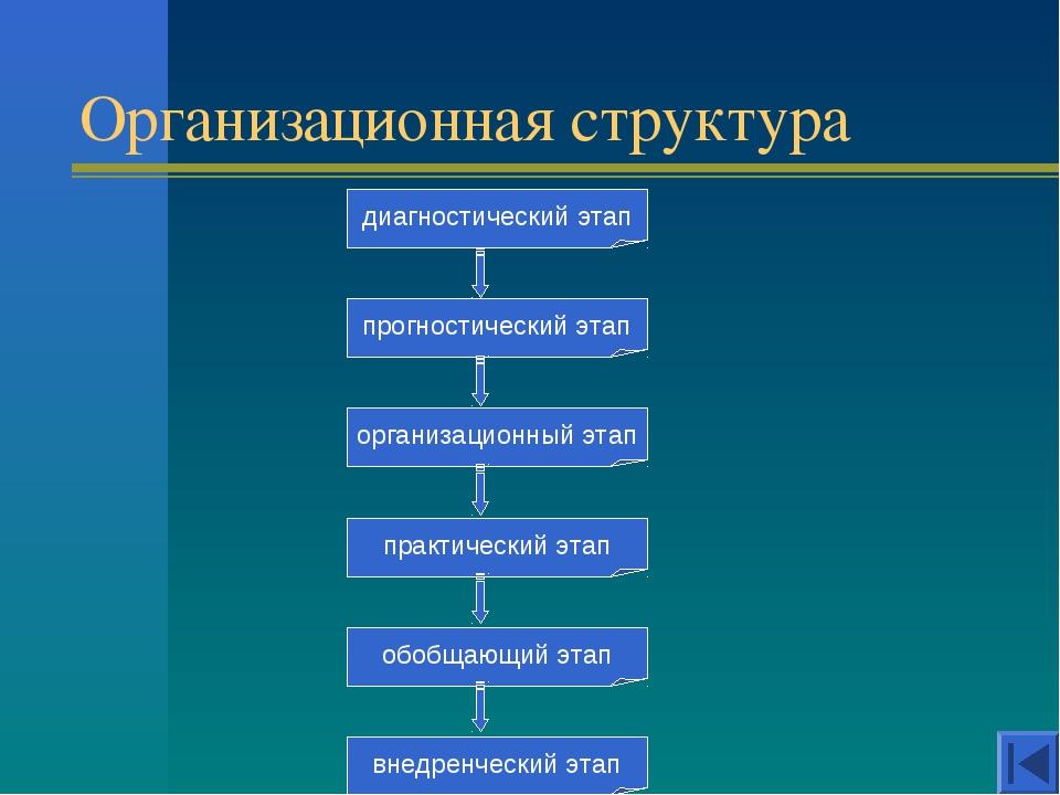 Организационная структура диагностический этап прогностический этап организац...