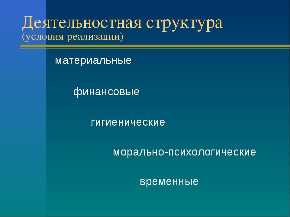 Деятельностная структура (условия реализации) материальные финансовые гигиени...