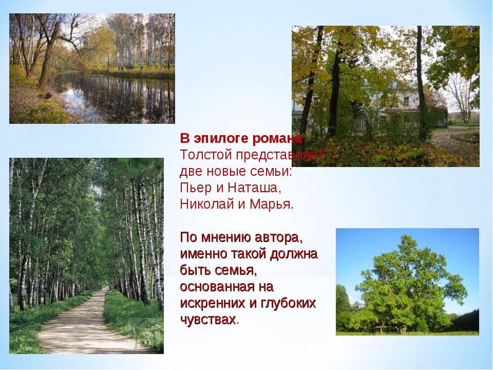 В эпилоге романа Толстой представляет две новые семьи: Пьер и Наташа, Николай...