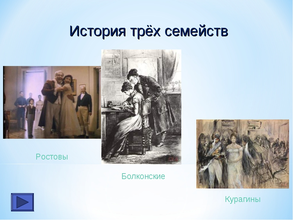 Болконские Курагины Ростовы История трёх семейств