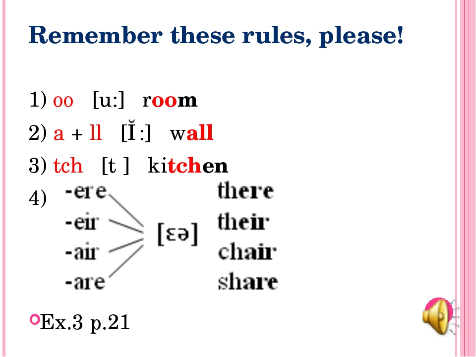 Remember these rules, please! 1) oo [u:] room 2) a + ll [ɔ:] wall 3) tch [tʃ]...
