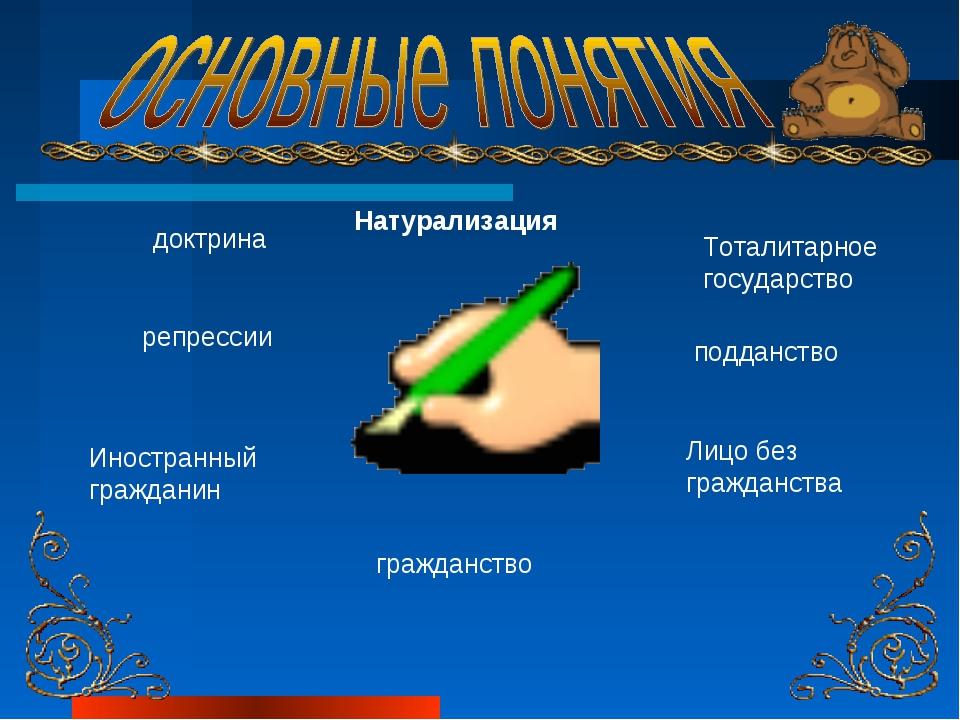 доктрина Тоталитарное государство Иностранный гражданин подданство Лицо без г...