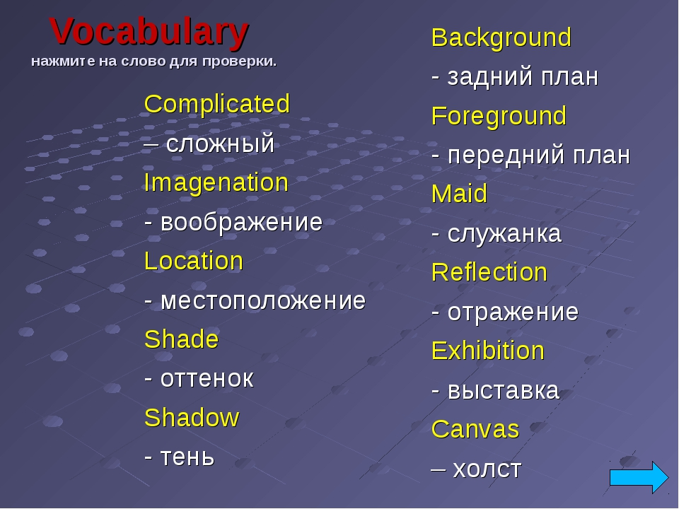 Vocabulary нажмите на слово для проверки. Complicated – сложный Imagenation -...