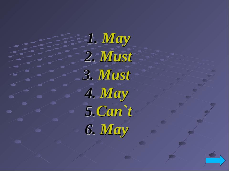 1. May 2. Must 3. Must 4. May 5.Can`t 6. May