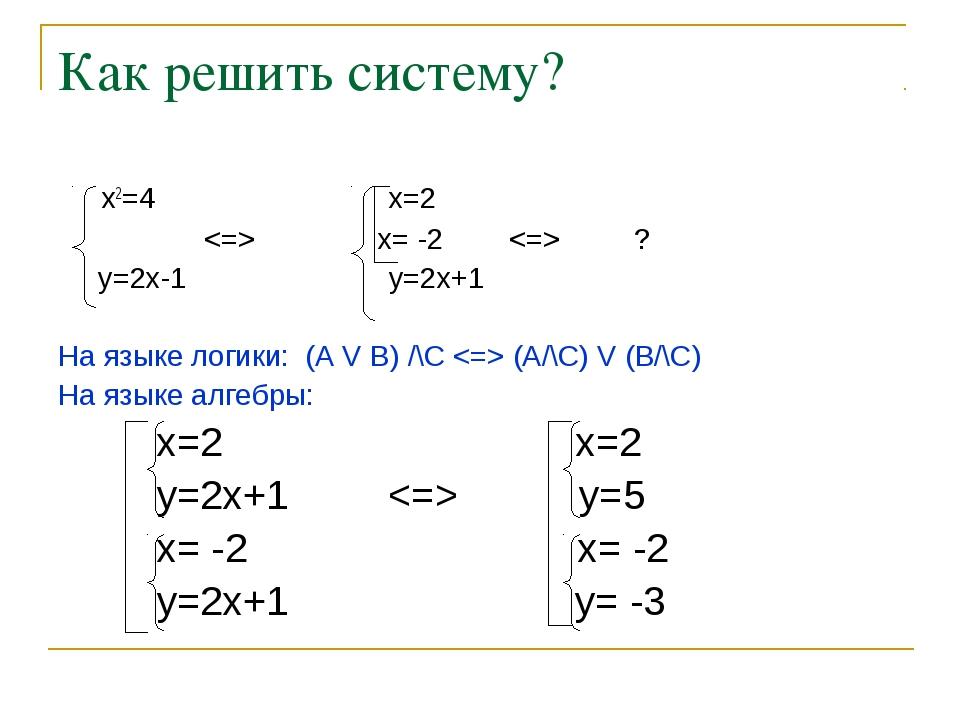 Как решить систему? x2=4  x=2  x= -2 ? y=2x-1 y=2x+1 На языке логики: (A V...