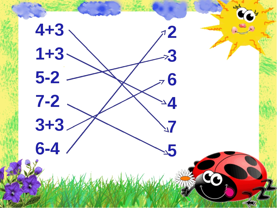 4+3 1+3 5-2 7-2 3+3 6-4 2 3 6 4 7 5