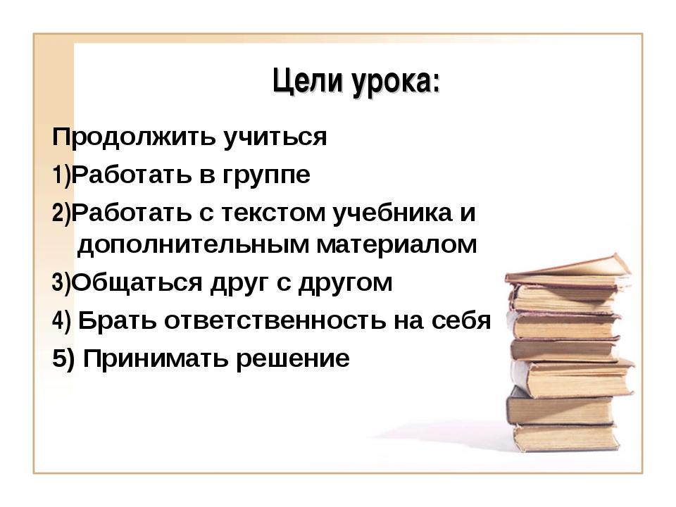 Цели урока: Продолжить учиться 1)Работать в группе 2)Работать с текстом учебн...
