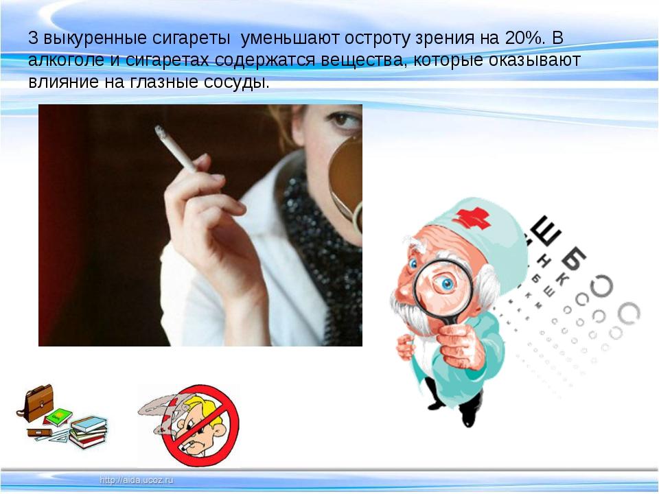 3 выкуренные сигареты уменьшают остроту зрения на 20%. В алкоголе и сигаретах...