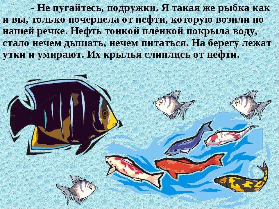 - Не пугайтесь, подружки. Я такая же рыбка как и вы, только почернела от неф...