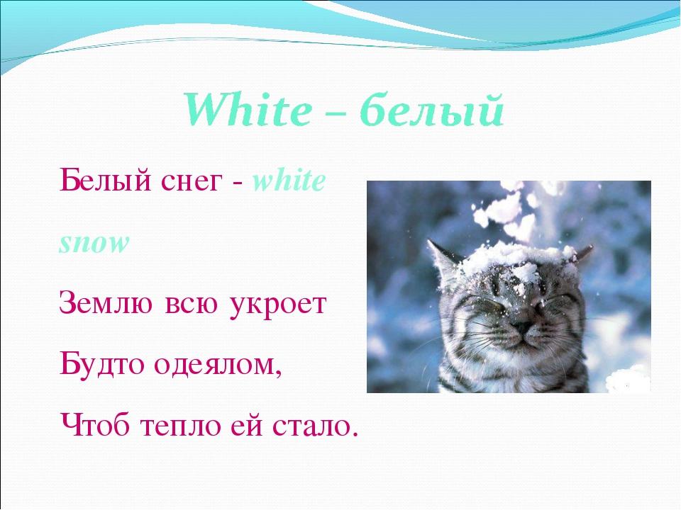 Белый снег - white snow Землю всю укроет Будто одеялом, Чтоб тепло ей стало.