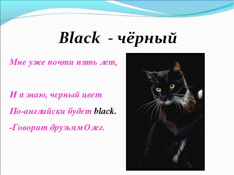 Мне уже почти пять лет, И я знаю, черный цвет По-английски будет black. -Гово...