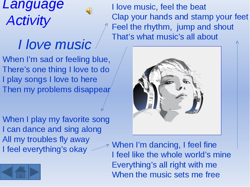 Language Activity I love music When I'm sad or feeling blue, There's one thin...