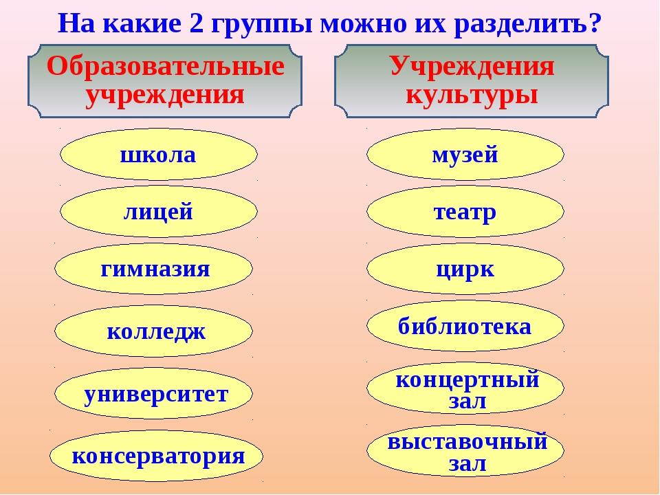На какие 2 группы можно их разделить? Образовательные учреждения Учреждения к...