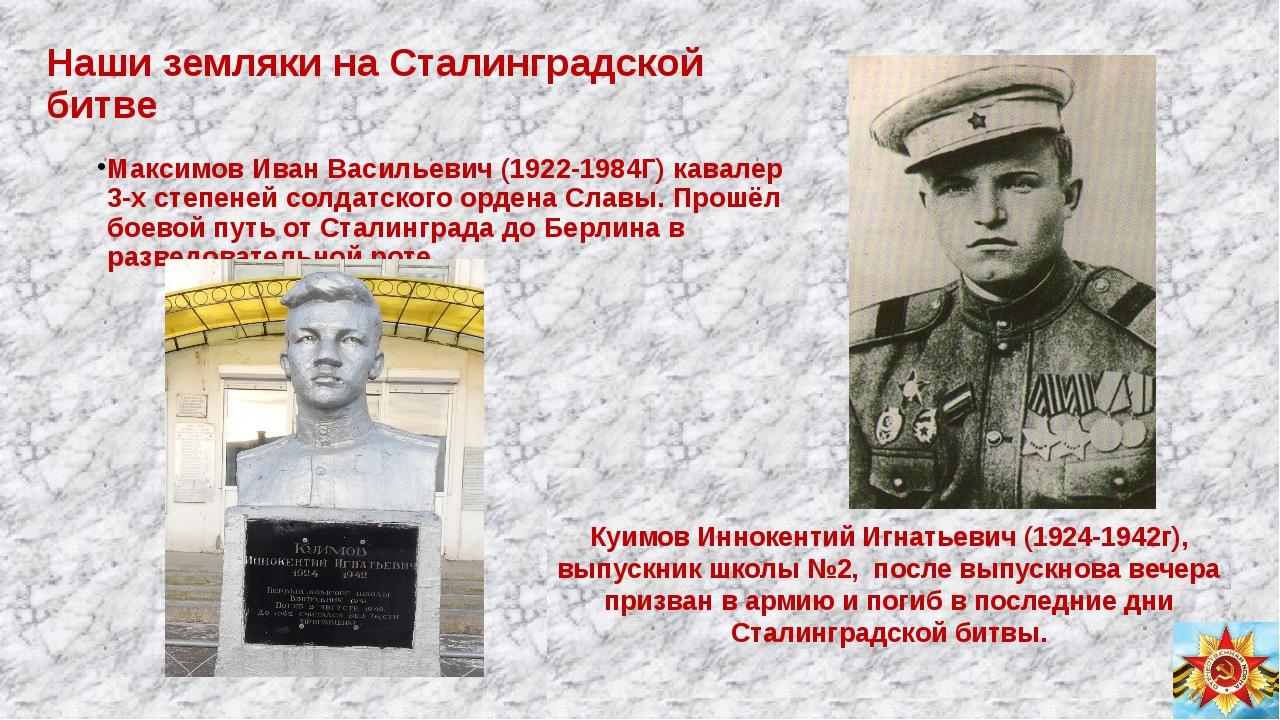 Наши земляки на Сталинградской битве Максимов Иван Васильевич (1922-1984Г) ка...