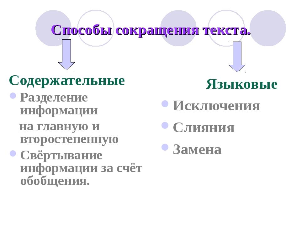 Способы сокращения текста. Содержательные Разделение информации на главную и...