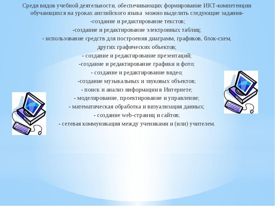 Среди видов учебной деятельности, обеспечивающих формирование ИКТ-компетенци...