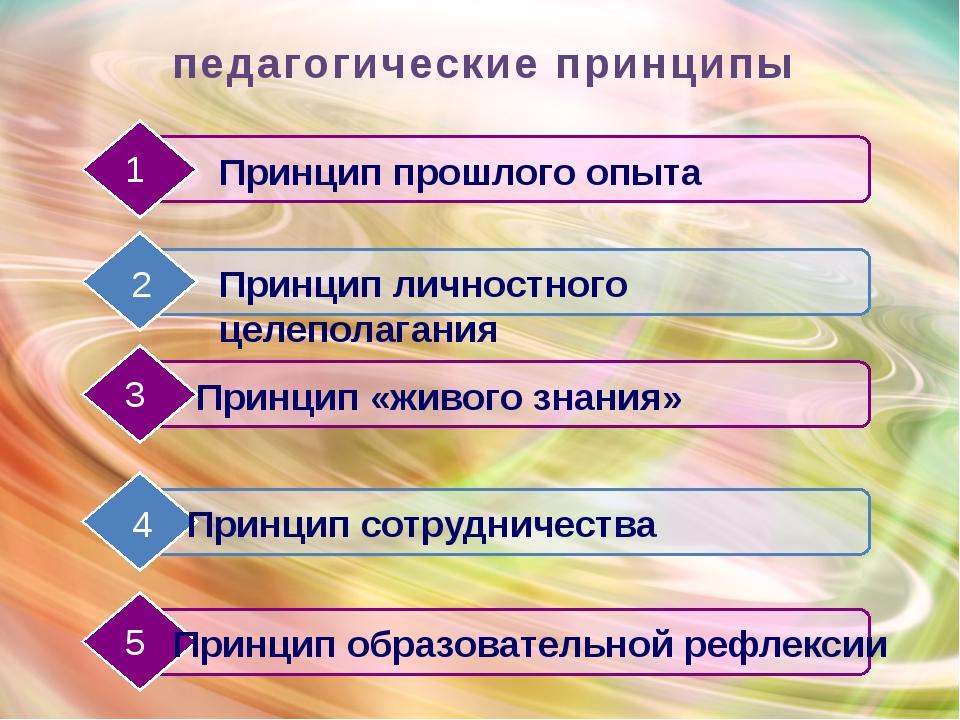 педагогические принципы Принцип прошлого опыта Принцип личностного целеполага...