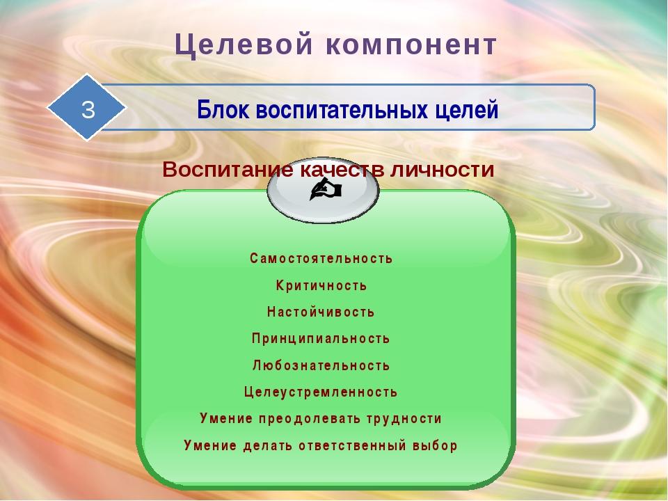 Целевой компонент Блок воспитательных целей Воспитание качеств личности Самос...