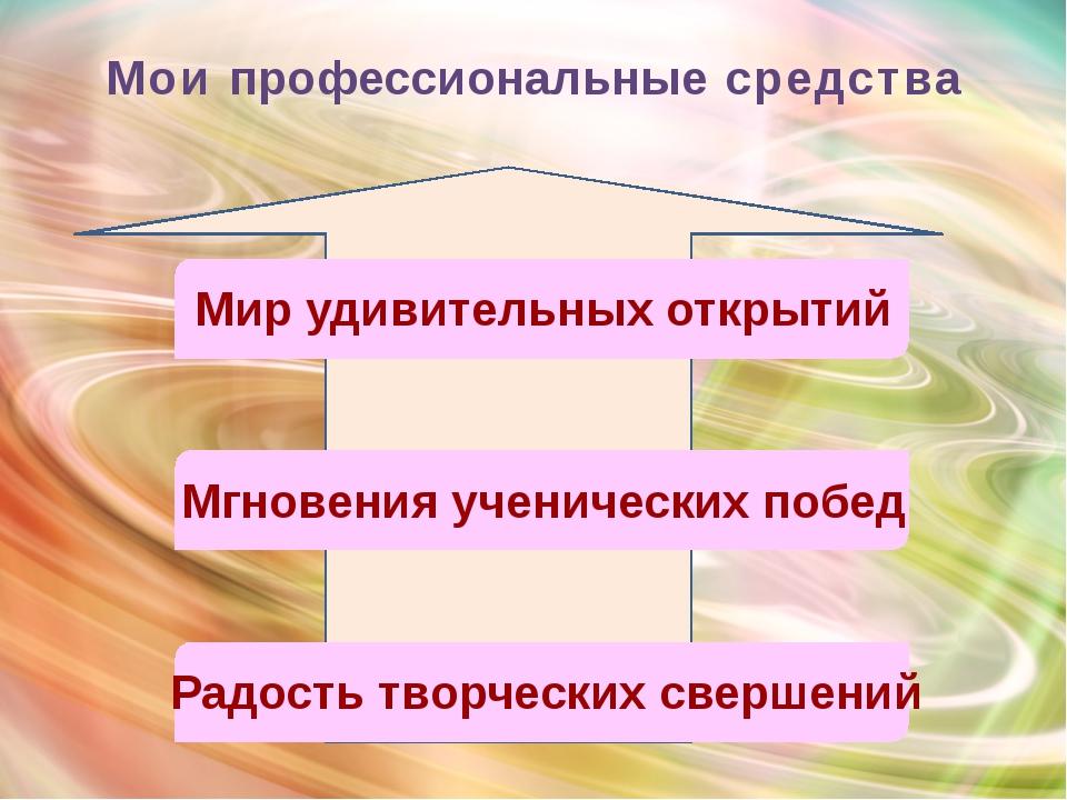 Мои профессиональные средства Мгновения ученических побед Мир удивительных о...