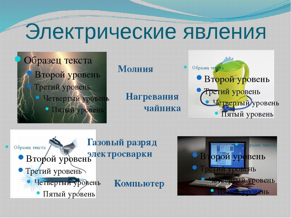 Электрические явления Молния Нагревания чайника Газовый разряд электросварки...
