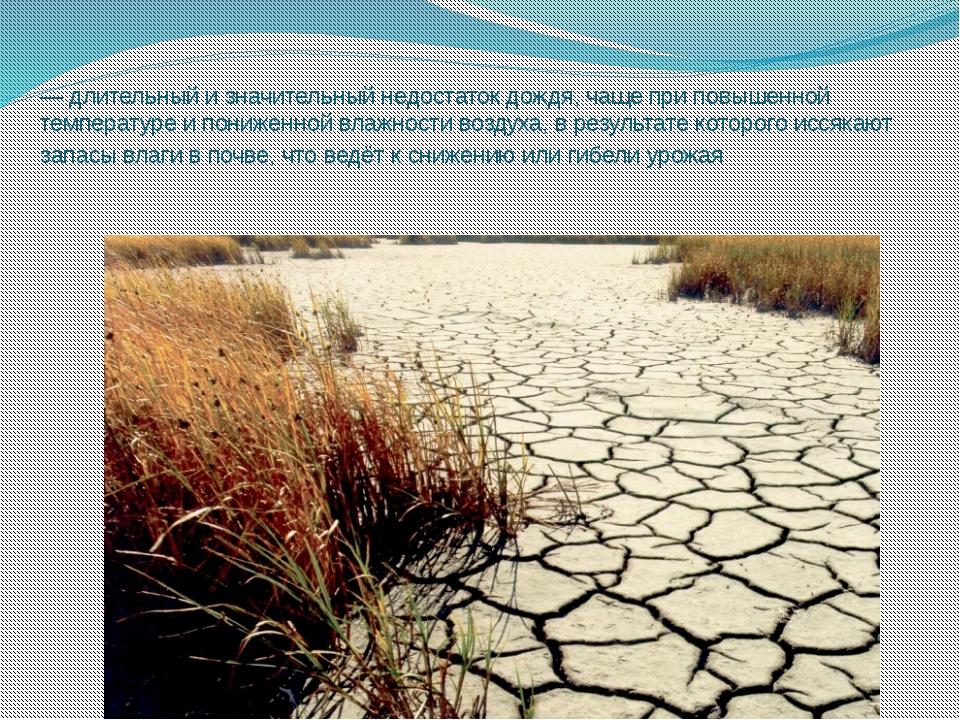 За́суха — длительный и значительный недостаток дождя, чаще при повышенной тем...