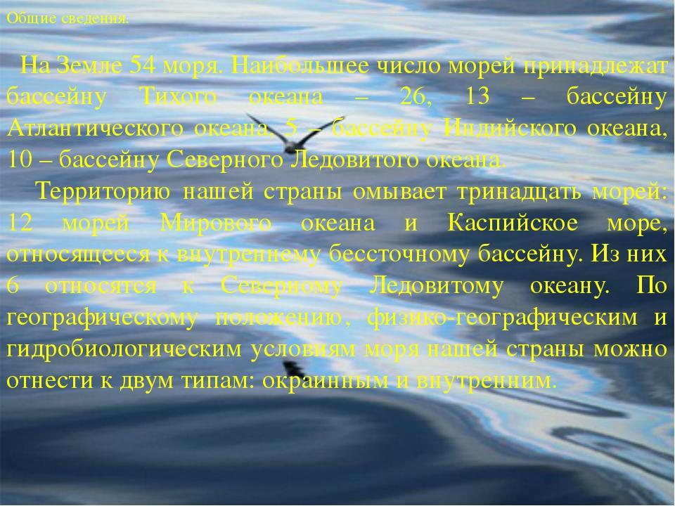 . Общие сведения. На Земле 54 моря. Наибольшее число морей принадлежат бассей...