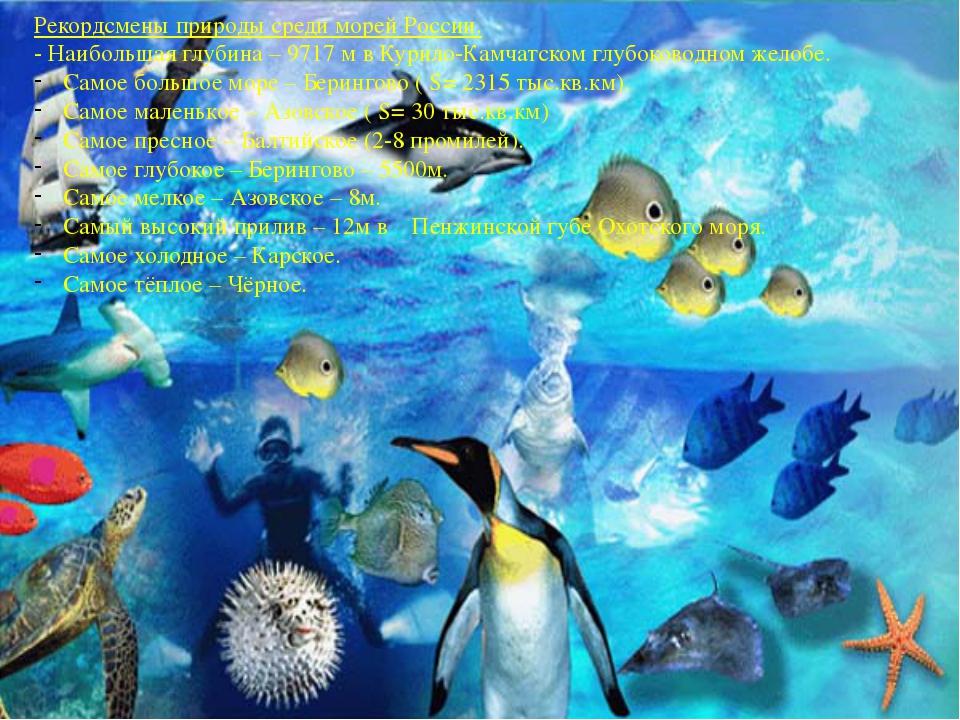 Рекордсмены природы среди морей России. - Наибольшая глубина – 9717 м в Курил...