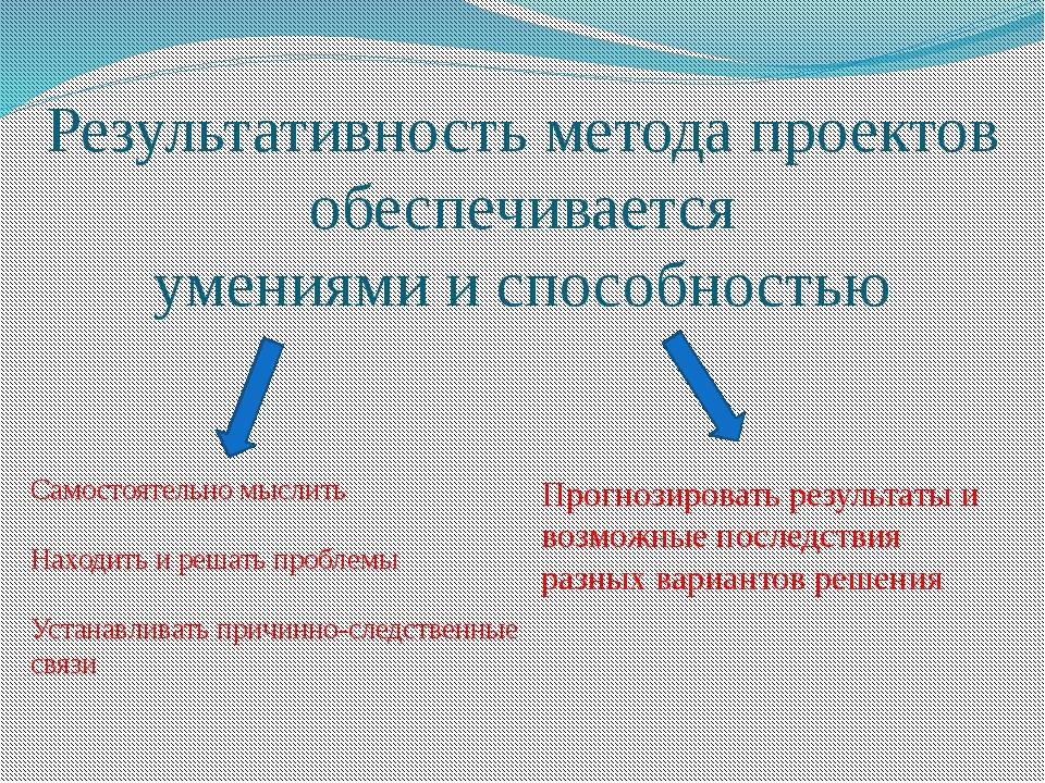 Результативность метода проектов обеспечивается умениями и способностью Самос...