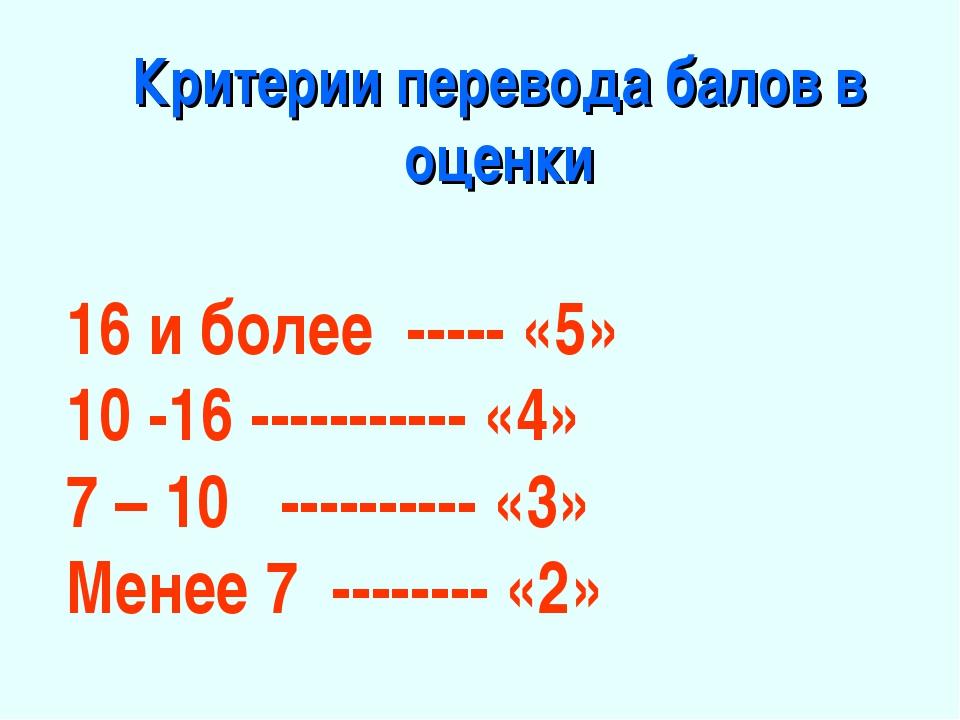 Критерии перевода балов в оценки 16 и более ----- «5» 10 -16 ----------- «4»...