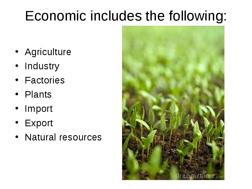 Economic includes the following: Agriculture Industry Factories Plants Import...