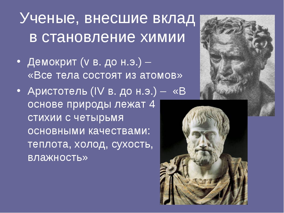 Ученые, внесшие вклад в становление химии Демокрит (v в. до н.э.) – «Все тела...