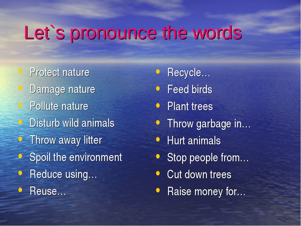 Let`s pronounce the words Protect nature Damage nature Pollute nature Distur...