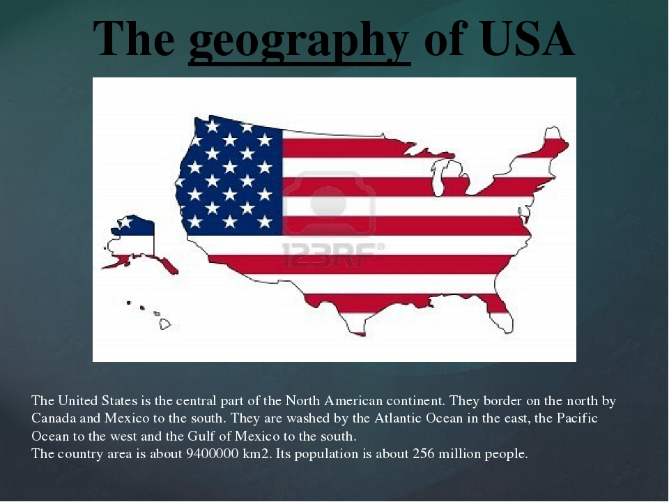 The United States is the central part of the North American continent. They b...