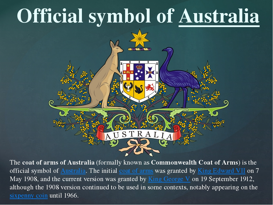 The coat of arms of Australia (formally known as Commonwealth Coat of Arms) i...