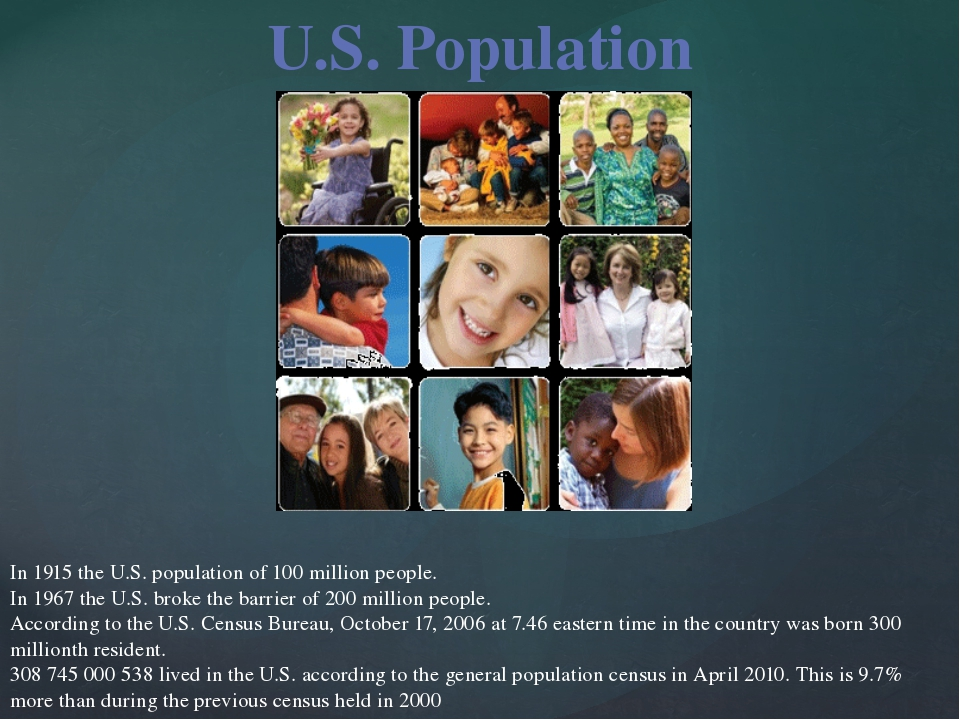 In 1915 the U.S. population of 100 million people. In 1967 the U.S. broke th...