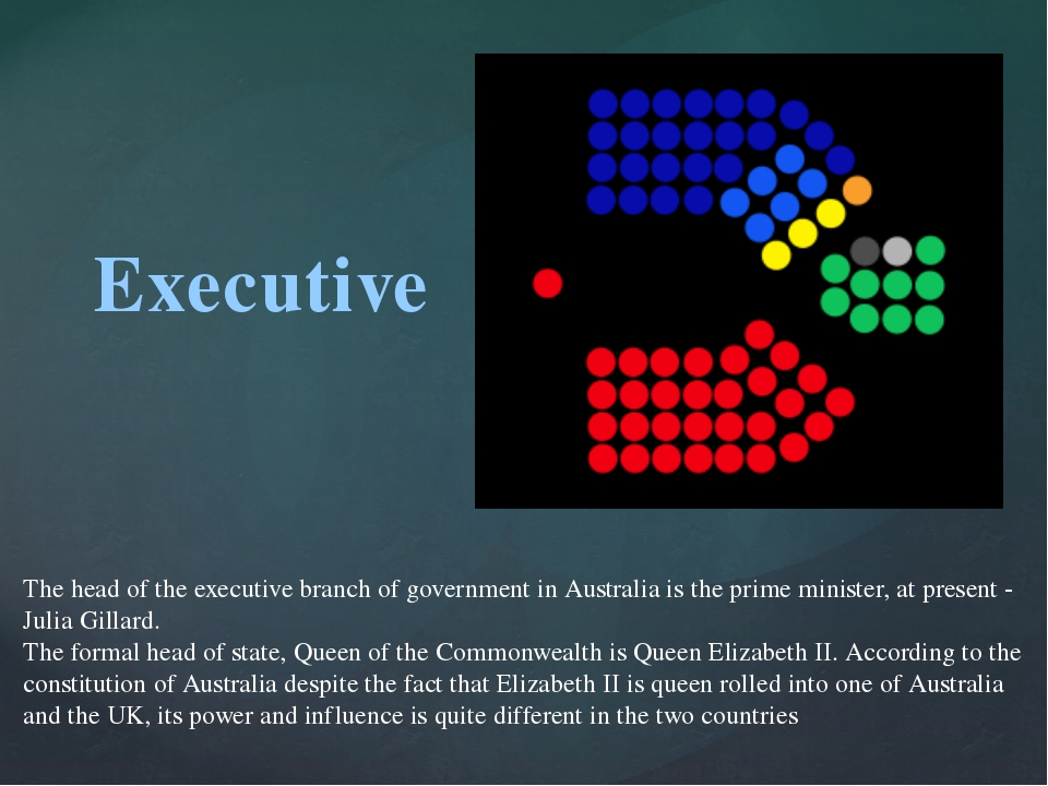 Executive The head of the executive branch of government in Australia is the...